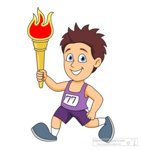 boy running with olympic torch clipart
